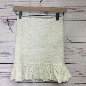Lovers and Friends Ivory Monaco Smocked Skirt SZ S